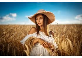 女人,模特,,妇女,女孩,白色,穿衣,帽子,小麦,领域,夏天,白皙的,壁