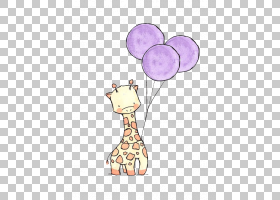 长颈鹿卡通,创意艺术,花瓣,紫色,颈部,粉红色,长颈鹿,孩子,绘画,图片