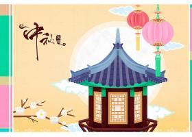 创意扁平化中秋节主题插画海报设计