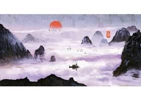 江景山水画