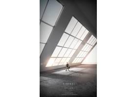 商务男性与虚拟现实空间海报背景设计
