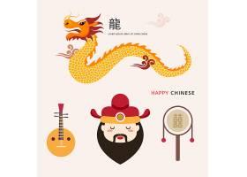中国龙与乐器物品组合新年插画