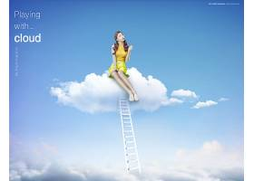 创意坐在蓝天云朵上的女孩主题海报设计