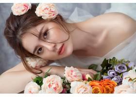 女人,亚洲的,妇女,模特,女孩,黑发女人,棕色,眼睛,花,玫瑰,壁纸,