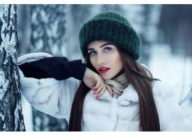 女人,模特,,妇女,女孩,黑发女人,蓝色,眼睛,口红,帽子,长的,头发,