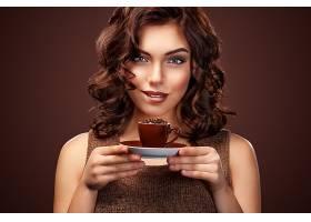 女人,模特,,妇女,女孩,黑发女人,蓝色,眼睛,微笑,口红,杯子,咖啡,
