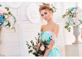 女人,新娘,妇女,模特,女孩,白皙的,蓝色,眼睛,花,酒香,壁纸,