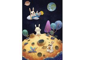中秋月球插画