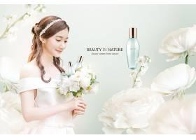 清新年轻女性白色花卉浪漫护肤品化妆品海报设计图片