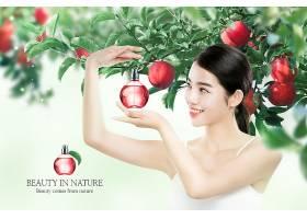 苹果元素年轻女性香水海报设计图片