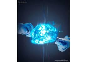 蓝色大脑主题医学科技医疗卫生背景