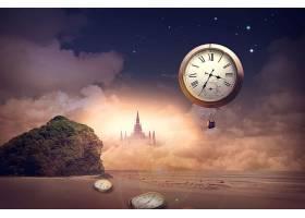 创意抽象时间概念主题钟表虚拟场景海报设计