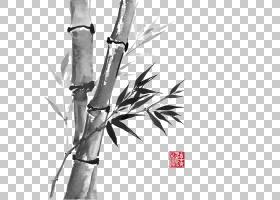 竹画水墨画中国竹风灰竹PNG剪贴画墨水,绘,中国风格,手,分支机构,