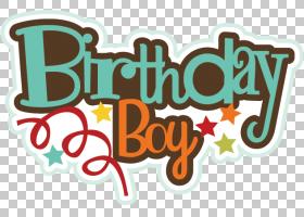 生日蛋糕贺卡和便条纸愿望,生日男孩的PNG剪贴画文本,祝你生日快