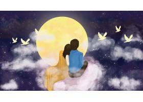 情侣赏月插画