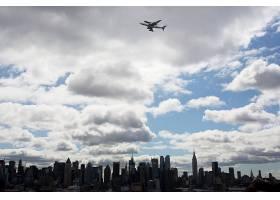 城市,城市,新建,约克,建筑物,摩天大楼,飞机,航天飞机,云,空