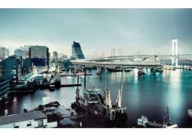 东京,城市,日本,夜晚,建筑物,摩天大楼,海港,桥梁,船,壁纸,