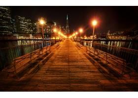 桥墩,城市,夜晚,灯光,城市风光,反射,地平线,直接热轧制,壁