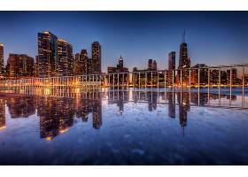 芝加哥,城市,一致的,州,摩天大楼,建筑物,城市风光,反射,灯