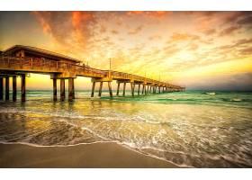 桥墩,日落,海洋,直接热轧制,壁纸,