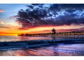 桥墩,日落,海滩,海,海洋,直接热轧制,地平线,壁纸,