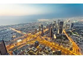 迪拜,城市,一致的,阿拉伯人,阿联酋航空公司,城市风光,灯光,
