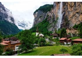 城镇,瀑布,风景优美的,山,水,壁纸,