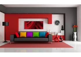 房间,富有色彩的,活的,房间,内部,设计,枕头,沙发,壁纸,
