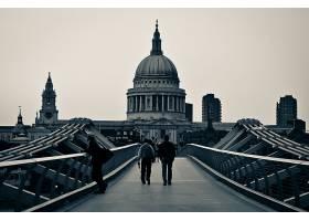 千禧年,桥梁,桥梁,黑色,白色,桥梁,建筑物,标准时间,大教堂,