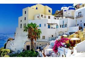 圣托里尼,城镇,希腊,体系结构,建筑物,地方,热带的,壁纸,
