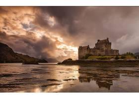 城堡,城堡,风景,山,风景优美的,天空,云,湖,反射,壁纸,