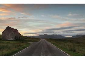 路,日落,房子,壁纸,