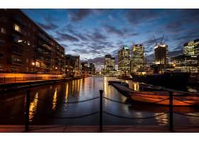 城市,城市,伦敦,英国,一致的,王国,夜晚,灯光,水,天空,云,黄