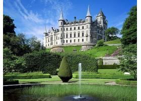 邓罗宾,城堡,城堡,一致的,王国,城堡,草,花园,树,源泉,壁纸,