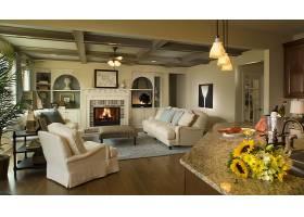 房间,内部,风格,休息室,壁炉,沙发,椅子,花,壁纸,