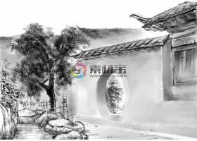 中国风水墨丹青山水建筑唯美意境装饰画