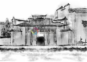 中国风水墨丹青建筑唯美意境装饰画