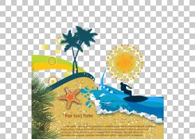 夏花背景,黄色,花,花瓣,树,文本,植物群,卡通,夏天,海,眼底,海报,