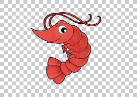 虾动画,红色,线路,动物形象,海鲜,面积,鱼,虾,小龙虾,绘图,卡通,P