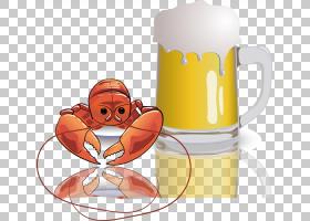 啤酒卡通,饮具,咖啡杯,橙色,餐具,食物,杯子,马克杯,喝酒,品脱玻