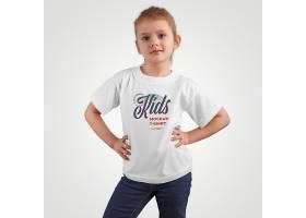 时尚小女孩白色T恤服饰LOGO展示样机