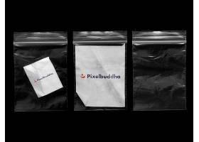 透明袋子装着纸张外观LOGO展示样机