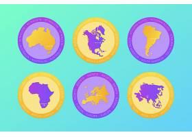 创意地球大洲主题装饰插画设计
