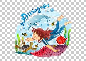 美人鱼卡通,美人鱼,创意艺术,儿童艺术,鲸鱼,游泳,孩子,