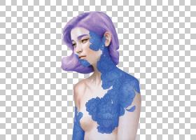 水彩背景,长发,紫罗兰,染发,关节,紫色,颈部,电蓝,假发,肩部,扇艺
