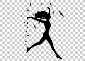 树枝剪影,黑白,线路,分支,幸福,黑色,树,芭蕾舞者,关节,女人,卡通图片