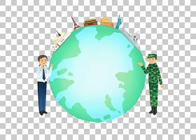 绿色地球,圆,地球,世界,绿色,天空,地球仪,女人,卡通,地标,