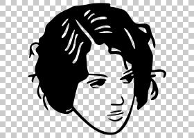 女人脸,黑白,头盔,微笑,徽标,前额,脸,头部,蓝发,女人,长发,剪刀,