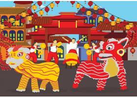 中国风新年春节喜庆开业舞狮醒狮表演矢量装饰插画