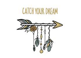 创意印第安元素羽毛箭物品主题装饰插画设计
